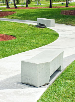 concrete path and bench